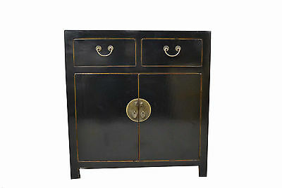 Black Chinese Wooden Storage Cabinet 2 Doors & 2 Drawers 73-16b