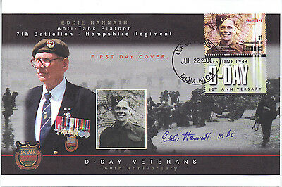 Dominica 2004 D Day Veterans Eddie Hannath 7th Bn Hampshire Regt Signed FDC