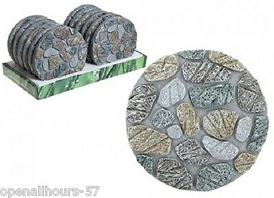 3 x Round Stepping Stones Garden Path Trail Decorative Crazy Paving Steps Set.