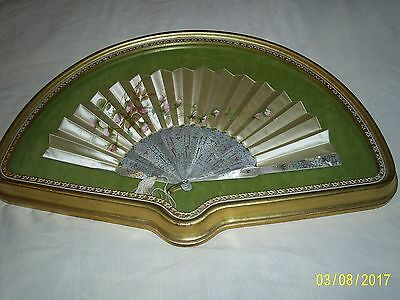 Antique Chinese Mother of Pearl & Silk Brise fan
