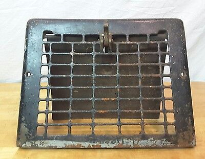 "Vintage Cast Iron Floor Wall Heat Vent Grate Register Louver fit 8 x 10"" opening"