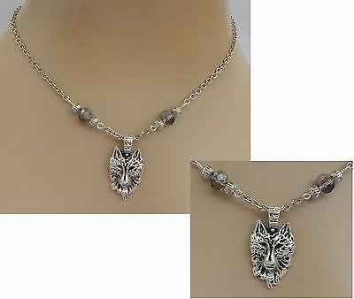 Silver Wolf Pendant Necklace Jewelry Handmade NEW Adjustable Chain Accessories