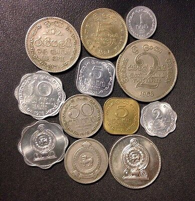 Old Sri Lanka Coin Lot - 1963-PRESENT - 12 Vintage Uncommon Coins - Lot #M16