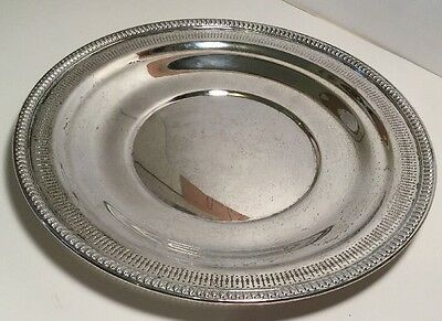 """STERLING SILVER 10"""" Round PLATTER WALLACE #261-3 Repousse PIERCED Dish 208 grams"""