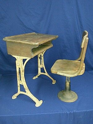 VANTAGE Antique Childs School desk Kenny Bros& Wolkins Boston Mass Hardwood Iron