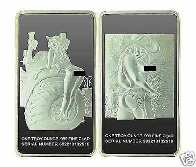 """Rare Farm Girl 1oz Silver PLATED Art Bar  -""""With Picture""""- Highly Collectible"""