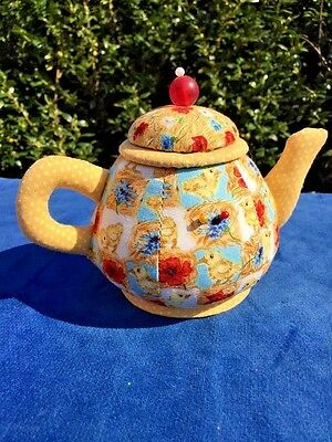 Antique Teapot Yellow Chick Quilt Sewing Pin Cushion Button Holder Estate ❤️