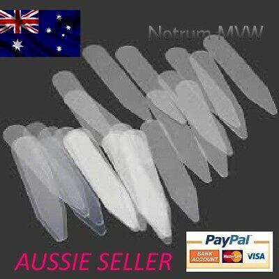20x Clear Plastic Formal Shirt Collar Stays Straighteners Stiffeners 2 Inch