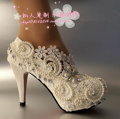 Lace white ivory crystal Wedding shoes Bridal flats low high heel pump size