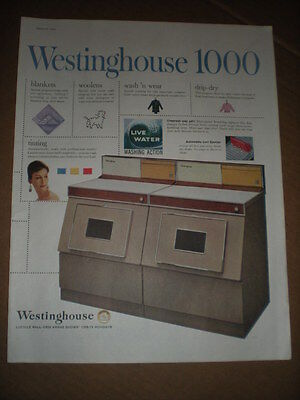 1959 Westinghouse model 1000 Washer and Dryer vintage photo Ad