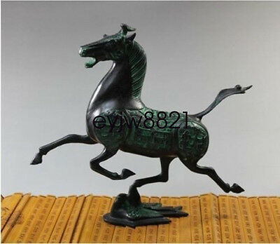 Exquisite Old Chinese bronze statue horse fly swallow Figures NRT