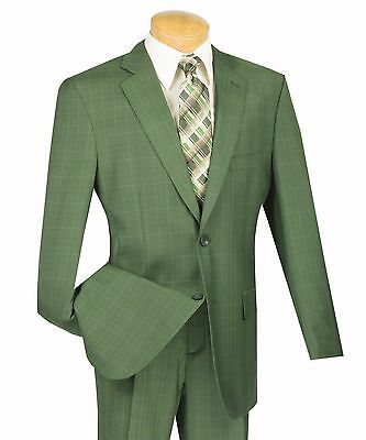 Men's Olive Green Glen Plaid 2 Button Classic Fit Suit w/ Notch Lapel NEW