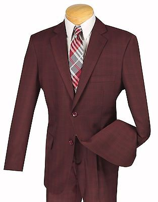 Men's Burgundy Glen Plaid 2 Button Classic Fit Suit w/ Notch Lapel NEW