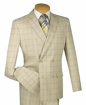 Men's Tan Windowpane Double Breasted 4 Button Slim Fit Suit NEW