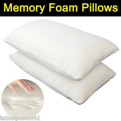 2x Memory Foam Bed Pillow Cushion Neck Support Fabric Zipper Cover Home Sleep AU