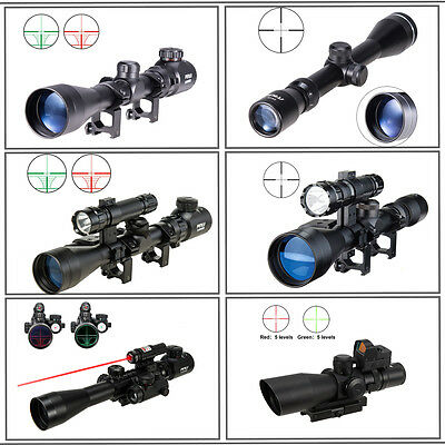 3-9x40 Tactical Rifle Scope Rangefinder/Crosshair/ w/Torchlight Combo Red Laser