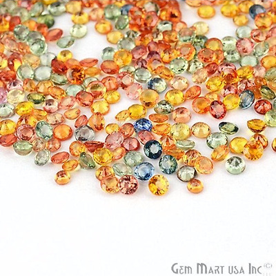 5 cts Natural Loose 3-4 mm Multi Color Sapphire Lot, Round Gemstone Lot MS-60014