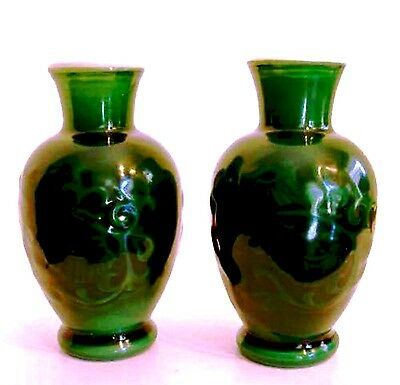 Avon Vases Two 1981 Spring Bouquet Asian Jade Green 6.75 inches Tall