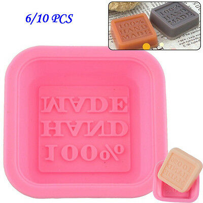 6-10 PCS DIY Soap Molds Cute Craft Art Square Silicone Oven Handmade Soap Mold