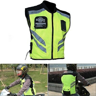 Military Safety Motorcycle Riding VEST Removable ID Pocket High-Vis Yellow M-XXL