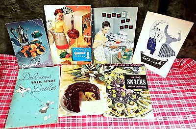 VINTAGE EARLY - MID 20th CENTURY COOK BOOKLETS - LOT OF SIX 1930s - 1960s