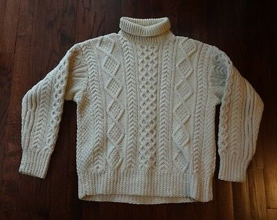 Vintage Mens Hand Knit Irish Fisherman Wool Sweater Made Ireland 60s Cable Large