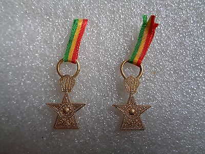 The Order Of The Star Of Ethiopia Knight**miniature Medal On Ribbon**lot Of Two*