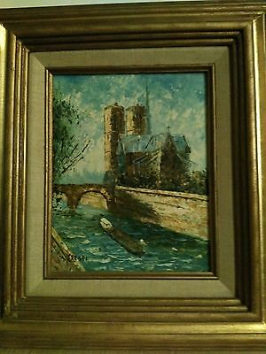 Vintage Mid Century Modern Crespi Oil Painting on Canvas - River Scene with Boat