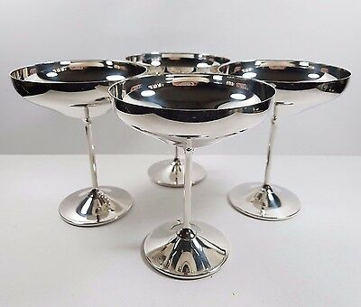 4 Silver Plated Toasting Champagne Saucers Coupes Goblets Vintage Wedding Ideal