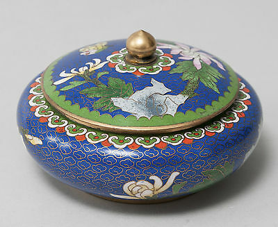 Blue Cloud Ground Chinese Cloisonne Lidded Jar with Flowers and Leaves