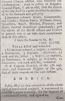 1775 REVOLUTIONARY WAR newspaper BATTLE OF BUNKER HILL Ethan Allen TICONDEROGA