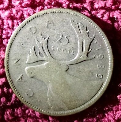 1939 Silver 25 cent coin - Canadian quarter - circulated