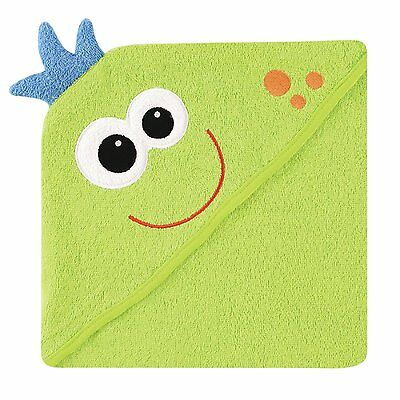 Luvable Friends Animal Face Hooded Towel, Green Monster 100% Cotton Terry