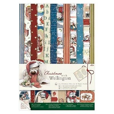 Docrafts Papermania Christmas With Wellington Ultimate A4 Die Cut & Paper Pack