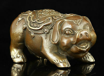 China Collectible Old Handwork Carving Bronze Verisimilitude Pig Statue Gift
