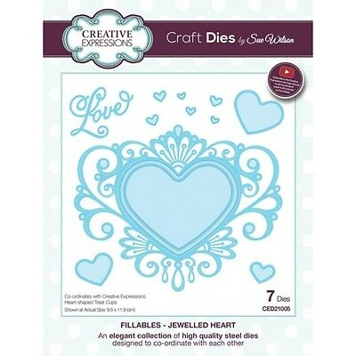 Sue Wilson Fillables Jewelled Heart Die Set Creative Expressions New