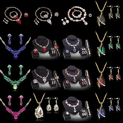 Fashion Rhinestone Necklace Earrings Charm Set Crystal Women Wedding Jewelry