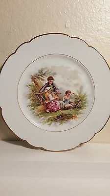 Sevres Chateau de St. Cloud cabinet plate family with lambs 9.5""
