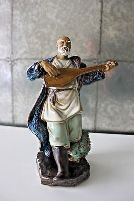 Vintage Chinese Clay Mudman Mud Man Figurine Blue Glaze Instrament