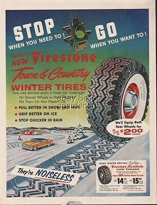 Firestone Town & Country Winter Whitewall Tires Stoplight 1955 Stop Go Ad