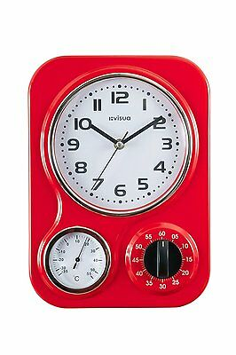 Metal Retro Kitchen Wall Clock • Temperature Gauge • Mechanical Timer • Red