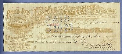 1923 Canceled Check F. S. WELLS ROUGH ON RATS & PHARMACEUTICALS SPECIALTIES
