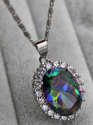 18K White Gold Filled- 13*18MM Oval MYSTICAL Rainbow Topaz Prom Pendant Necklace