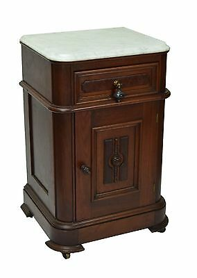Antique Victorian Era Marble Top Walnut Half Commode Cabinet