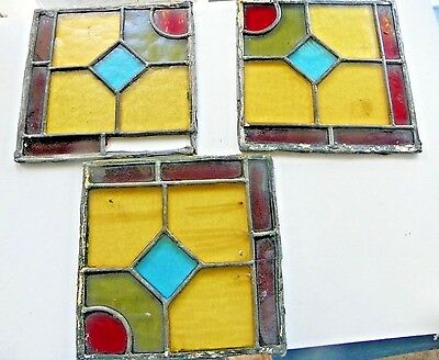 """Three 8"""" x 8"""" Antique Leaded Stained Glass Window Panes Early 1900s"""