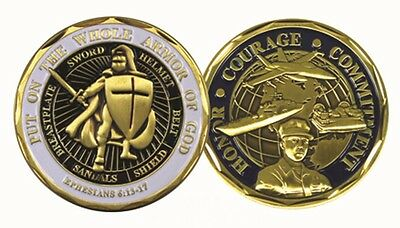 Military Challenge Coin St. Michael Armor of God Sailor US Navy Honor Courage