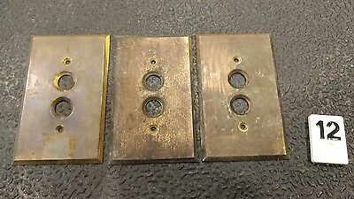 3 Vintage Brass Single Gang Push Button Light Switch Cover Plates B12