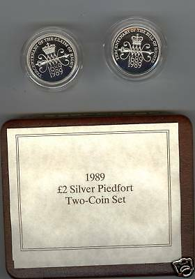 1989 Boxed Set Of Two Piedfort Silver Proof £2 Coins Claim Of Rights & Bill