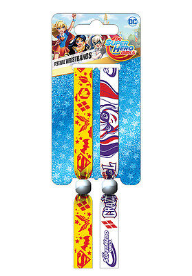 DC Super Hero Girls (Crazy & Cool) Pack Of 2 Fabric Festival Wristbands FWR68078