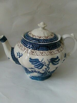 Vintage Booths Real Old Willows Blue And White Pattern Teapot Made In England